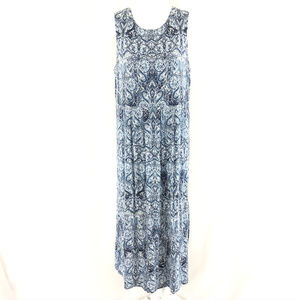 J Jill Maxi Dress Paisley Sleeveless Blue White MP